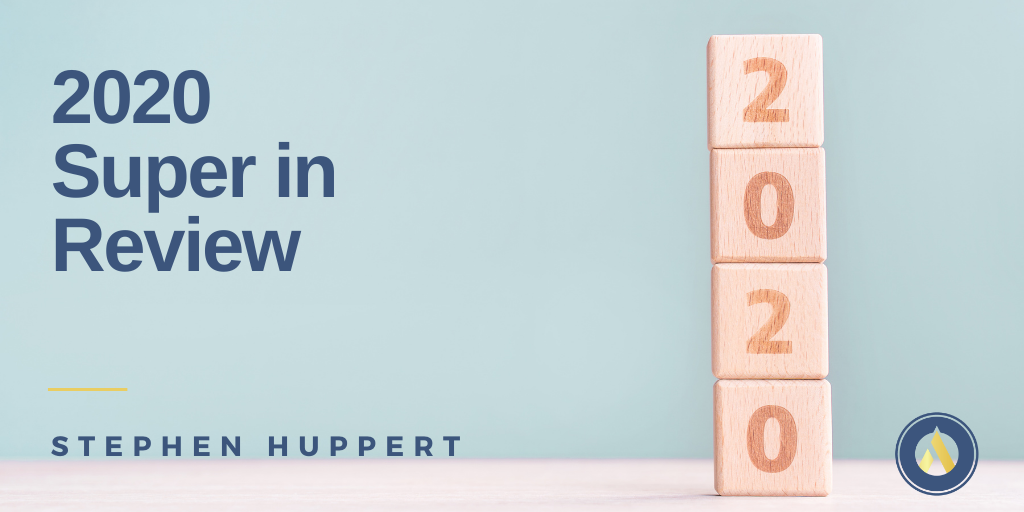 Blog title 2020 Super In Review alongside wooden blocks with the numbers 2 0 2 0